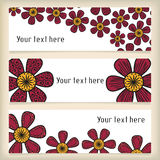 Banners with doodling flowers in tattoo style Royalty Free Stock Image
