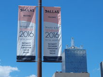 Banners in Downtown Dallas Stock Images