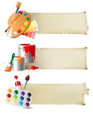 Banners with drawing tools. Retro-styled banners with drawing tools Royalty Free Stock Photos