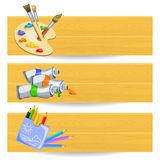 Banners with drawing tools Stock Images