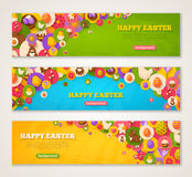 Banners with Easter Flat Icons in Circles vector illustration
