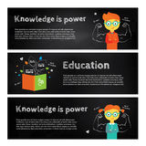 Banners about education, school and growing. Modern flat  illustration. Design element Royalty Free Stock Image
