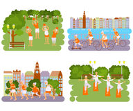 Banners Elderly people doing exercises. Healthy lifestyle, active lifestyle retiree. Sport for grandparents, elder Yoga in park and Ride for Seniors in city Stock Photos