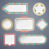 Banners With Electric Bulbs Decoration. Set for Celebratory Design. Used pattern brushes included Stock Photos