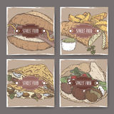 Banners with falafel, crepes, fish, chips and bratwurst color sketches. Stock Image