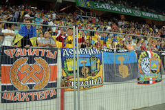 Banners of FC Shakhtar ultras Stock Images