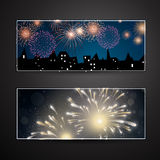 Banners with Fireworks Royalty Free Stock Photos