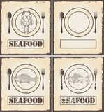 Banners with fish and lobster. Four banners with fish and lobster Royalty Free Stock Photo