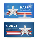 Banners with flag for US Independence Day. 3d effect can be removed. Vector EPS 10. Festive banner for the site on 4th of July stock illustration