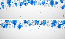 Banners with flags and balloons. Festive banners with blue and white flags and balloons. Vector illustration Royalty Free Stock Photos