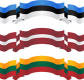 Banners and flags of baltic states Royalty Free Stock Images