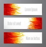 Banners with flame on white background. Place for your text. Vector illustration with fire. Banners with flame on white background. Place for your text. Vector Stock Photography