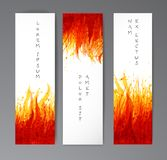 Banners with flame on white background. Place for your text. Vector illustration with fire. Banners with flame on white background. Place for your text. Vector Stock Photos