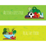 Banners with flat icons of sport equpment and vegetables. Concept healthy life style. Isolated vector illustration Royalty Free Stock Photo