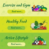 Banners with flat icons of sport and vegetables. Concept healthy life style. Isolated vector illustration. Healthy lifestyle banners with hand drawn flat icons Stock Photography