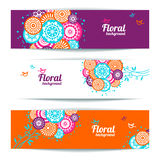 Banners of floral backgrounds Stock Image