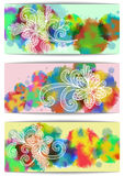 Banners with floral doodles and watercolor background Stock Images