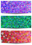 Banners with floral ornament and triangle background Stock Image
