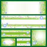 Banners with flower patterns. Set from different banners with flower motives Royalty Free Stock Image