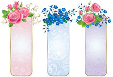 Banners of flowers roses and forget-me-not Royalty Free Stock Image