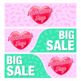 Banners and flyer for valentine's day. Royalty Free Stock Images