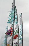 Banners Flying at a Kite Festival Royalty Free Stock Photos