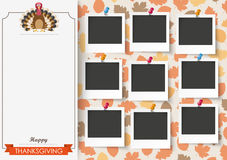 3 Banners Foliage Thanksgiving Turkey 9 Pics. Oblong banner with 9 pics, ribbon, turkey and foliage Stock Photos