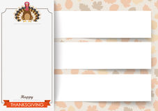 3 Banners Foliage Thanksgiving Turkey. 3 banners with ribbon, turkey and foliage Royalty Free Stock Images