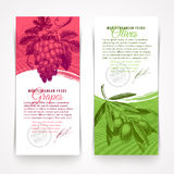 Banners with foods - grapes and olives. Vertical banners with hand drawn foods - grapes and olives Royalty Free Stock Photos