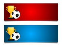 Banners for football world championship in Russia 2018. Poster for football world championship in Russia 2018 with Russian flag, golden trophy and football ball Stock Photos