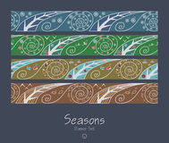Banners with four seasons Royalty Free Stock Photography