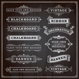 Banners, frames and ribbons, chalkboard style. Vintage design elements - banners, frames and ribbons, chalkboard style vector Stock Illustration