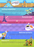 Banners with French sights. Colorful vector travel banners with French sights, cuisine and views of beautiful architecture Stock Photos