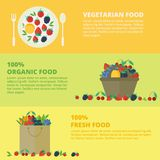 Banners with fresh berries and fruits. Concept healthy food. Vector illustration. Horizontal banners with fresh berries and fruits. Concept organic and vector illustration