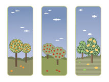 Banners with fruit trees Stock Images