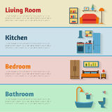 Banners with furniture icons for rooms of house Royalty Free Stock Image