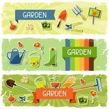 Banners with garden sticker design elements and Royalty Free Stock Photos