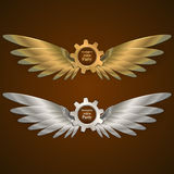 Banners with gears in the form of metal wings. logo Stock Photography