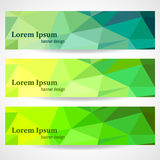 Banners with geometric pattern. Set of banners with triangles Stock Photo