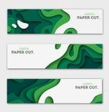 Banners geplaatst 3D abstracte achtergrond, de vormen van de Groenboekbesnoeiing Vectorontwerplay-out voor bedrijfspresentaties,  vector illustratie