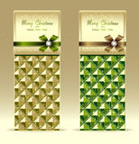 Banners or gift card with bow geometric pattern gr Royalty Free Stock Photography