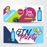 Banners with gin bottle, shot, lime, juniper, place for text. Banners with gin bottle, cocktail shot, lime, juniper and place for text, sketch vector Stock Photography