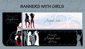 Banners with girls. Vector set of banners with grils Royalty Free Stock Image