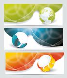 Banners with glass balls and globe Stock Photo