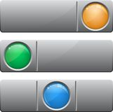 Banners with glass button. Set of three buttons different colors vector illustration