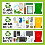 Banners with glass metal e-waste trash Royalty Free Stock Image