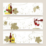 Banners with glass of red wine and grapes Stock Photography