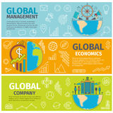 Banners global management economics company Royalty Free Stock Images