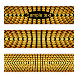 Banners with gold metallic elements. Vector horizontal banners with symmetrical geometric elements Stock Photos