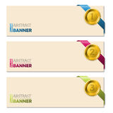 Banners with gold pendent and ribbons Royalty Free Stock Photos